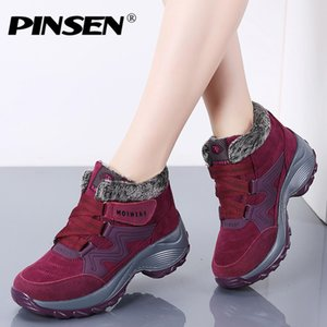 PINSEN New 2019 Women Snow Boots High Quality Winter Warm Push Ankle Boots Women Platform Female Wedge Waterproof Botas Mujer MX200324
