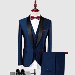 جديد وصول شال أسود التلبيب العريس البدلات الرسمية الزفاف أفضل رجل السترة 3 أجزاء (سترة + سروال + سترة) الأزرق الداكن بورجوندي الرجال الدعاوى مخصص