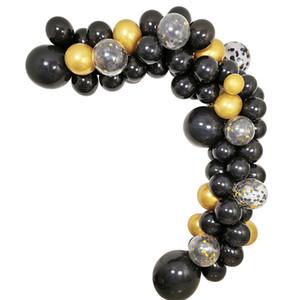 100pcs noir et or Birthday Party Ballons Kit pour Bday Party 30 40e 50e 60e 70e Décorations de retraite de célébration T200624