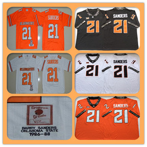 Hommes 1986-1988 rétro NCAA Oklahoma State Cowboys 21 Barry Sanders Sanders College Football Jerseys pas cher Sanders Sanders Collège Chemises Orange