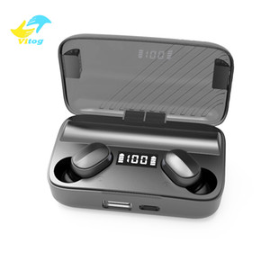 Vitog TWS A9 Wireless Bluetooth 5.0 Earphones Invisible Earbuds Stereo watch LED Noise Cancelling gaming Headset with LED power bank