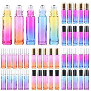 Aihogard de 10ML dégradé de couleur épais en verre Roll On Huile Essentielle vide bouteille de parfum Roller Ball durable pour Voyage