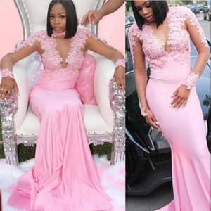 2020 Cheap Pink Arabic Long Sleeves Mermaid Prom Dresses Sexy High Neck Illusion Lace Appliques Beads Formal Evening Gowns Wear Party Dress