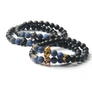 New Mens Silver Stainless Steel Helmet Bracelets Natural Stone Beads Beaded Energe Bracelet Pulseira Masculina Jewelry For Men