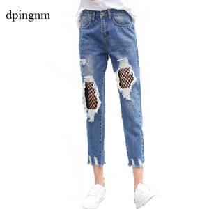 Moda Bayan Ripped Tahrip Sıkıntılı İnce Denim Jeans Kot Seksi Delik Kalem Pantolon Yeni