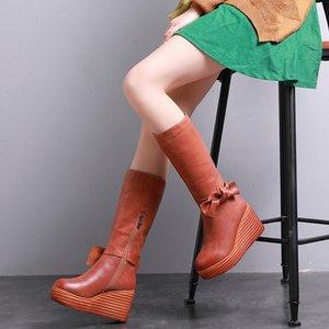 2019 VALLU invierno de las mujeres calza botas de cuero genuino acuñan los cargadores Pajaritas cremallera lateral señoras Rodilla Caliente