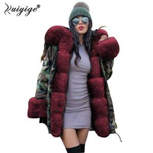 Ruiyige 2018 Nouvelles Femmes Manteau D'hiver Rouge Fourrure À Capuche Jeans Veste Femme Parkas Hiver Long Manteaux Chauds Femme Parka Plus La Taille