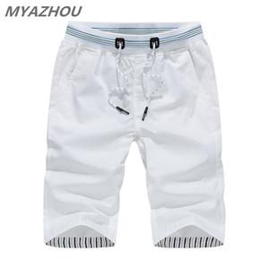 MYAZHOU 5XL erkek Yaz Rahat Şort 2019 Katı Renk Elastik Bel Moda erkek Şort% 100% Pamuk Marka erkek Giyim Şort