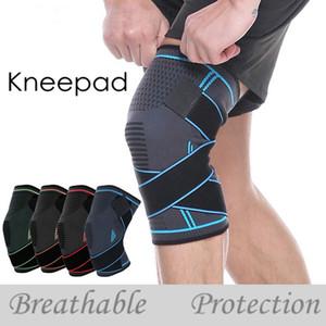 Knieorthese Sport Sicherheit Kneepad Professionelle Sportschutzbreath Bandage Knie-Klammer für Basketball Tennis Radfahren Laufen HHAa252