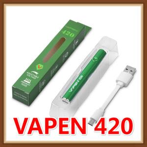 100% Vapen d'origine 420 Préchauffage VV Batterie 420mAh Préchauffer Tension Variable Bas USB Chargeur Mod Pour 510 Épaisse Cartouche D'huile Authentique