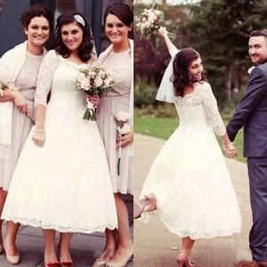 Vestidos de boda de país de encaje vintage Longitud del té Una línea 3/4 Mangas largas Más tamaño Vestidos de novia de jardín Vestido de novia a medida