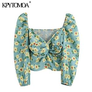 Kpytomoa femmes 2020 Mode Imprimé Floral drapé recadrée Blouses vintage Manches Bouffantes retour élastique femelle Chemises Blusas Chic Tops