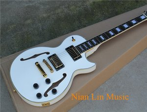 6-String Electric Guitar with White Color Body,Semi-hollow Body,Gold Hardware,Multi-Binding and can be Customized