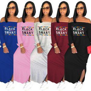 Carta impresa Diseñador de las mujeres Vestidos de manga larga Negro Smart Print Slash cuello suelto fuera del hombro vestido largo de las señoras sexy falda de división 2019