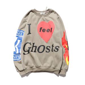 Kanye West « Je me sens Ghosts » Sweat-shirt Les hommes et les femmes Flame Toison Imprimer Hip Hop Sweats à capuche Xxxtentacion en vrac Casual Hoody Y200331