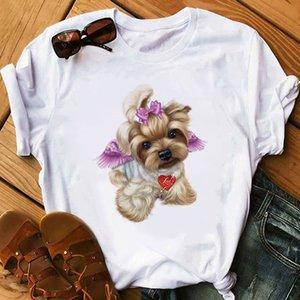 Love zh Cute Little Yorkshire Terrier Dog T Shirt Women Summer Tops Lovely Angel Youkshire Print Girls Tee Shirt Animal T-shirt