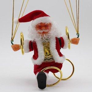 Elétricos Natal de Santa Brinquedos Noel Hanging rotação Parachute Vire Musical Pingente Plush Toy Elétrica Plush Dolls Moda GGA2866