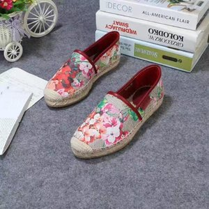 2019ss womens fashion Floral Canvas Slip-on Espadrilles causal shoes hococal 20mm Rope and rubber sole size euro 35-41