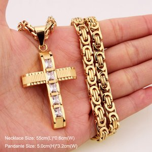 316L Stainless Steel Fashion Jewlery Byzantine Box Link Chain Necklace Cross Pendants For Men Women Hip Hop Accessories KKA3372