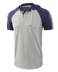 Hommes Hauts Mode de style européen Hommes O Neck Splice Couleur Tops Designer Hommes T-shirts à manches courtes d'été
