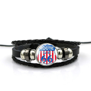 USA Route 66 Charm Bracelets Punk Retro Multilayer Leather Bracelets for Men Women Customize Cuff Bangles Jewelry Gifts