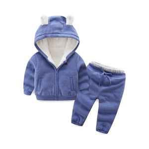 Children's winter plus Plush two-piece bear shape plus Plush warm Hooded Sweater Cotton Pants Set Little bear