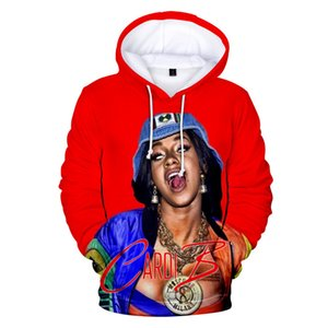 Cardi B 3D Impreso Moda Hoodies Rapper 3D Impreso de manga larga sudaderas con capucha de Hip Hop de las mujeres suéter