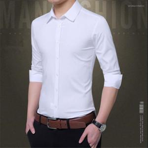 Designer de manga longa lapela Mens Neck camisetas Partido Skinny Fashion Dress Masculino Camisetas Outono Magro Camisas de vestido cor sólida