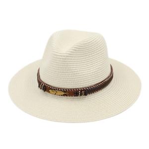 Açık Geniş Brim Yaz Straw Panama Fedora Caz Cap İçin Erkekler Kadınlar Sun Beach Şapkalar Moda Tüy Kemer