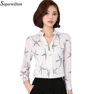 Soperwillton Hot Sale 2018 Summer New Arrival Female Long-Sleeve Blouse Women Shirt Chiffon Ruffle Tops Camisa Renda Blusa #A506 Y200622