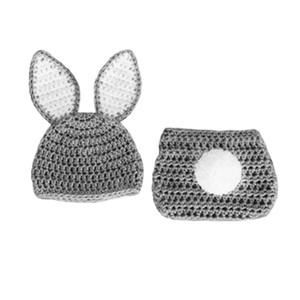 Güzel Yenidoğan Gri Paskalya Bunny Kıyafet, El Yapımı Örgü Tığ Erkek Bebek Kız Tavşan Bunny Şapka ve Bezi Kapak Seti, Bebek Hayvan Fotoğraf Prop