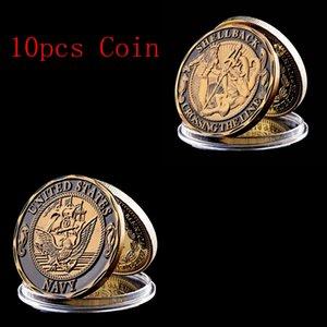 10pcs frete grátis Marinha U.S Shellback Crossing the Line Sailor comemorativa Challenge Coin Recolha