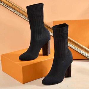 Sapatos mulher sexy no outono e inverno de malha elástica Mulheres Fur Moda Botas para curtos Botas Meias Botas Tamanho Grande sapatos de salto alto