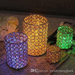 Vincidern Cylindre en verre Photophore Bougeoirs Crystal Cup Bougeoirs Vases support en métal pour Décoration de mariage Table Centerpieces