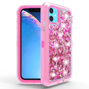 3in1 Shockproof Glitter Flowing Liquid Cover TPU+PC Heavy Duty Full Body Protective Shell for iphone 11 11 pro 11 pro max