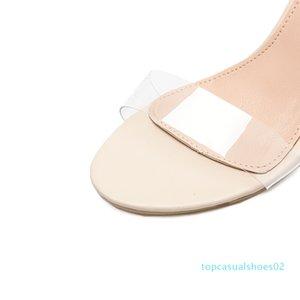 DiJiGirls yeni bayan sandalet bayanlar yüksek topuklu ayakkabılar kadın Crystal Clear Şeffaf gündelik takozları ayakkabı T02 pompalar gladyatör