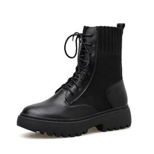 Nuovi pattini doposci stile britannico Moto Inverno Stivali Donne Stivaletti punk gotico tacco basso Stivali bassi donne calde di vendita-2020