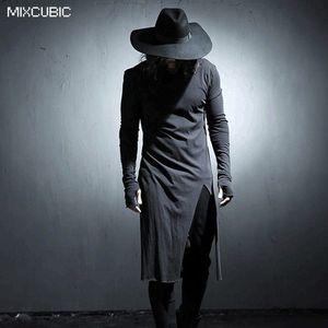 MIXCUBIC Autumn costumes Nightclubs Burrs Shear breaking t shirt men white casual Long section t-shirts male tshirt size M-XL