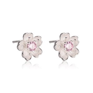 B S925 Sterling Silver Ear Stud Japan and South Korea Fashion Temperament Creative Hipster Cherry Blossom Ear Stud Inlaid Pink Zircon Earrin