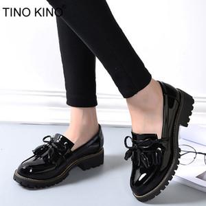 TINO KINO Mujeres Borlas Bowtie Zapatos Derby de primavera Plataforma de moda de charol de tacón bajo para mujer Señoras Resbalón en el calzado