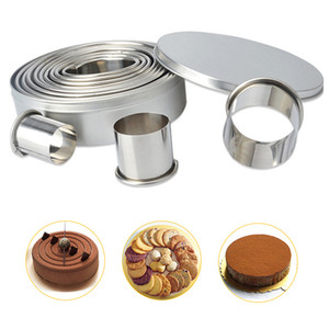 Wholesale Delicate DIY Cookie Mould Graphic Baking Tools Stainless Steel Mousse Ring 12pcs set Cookie Round Mould Cutter BH0641 TQQ
