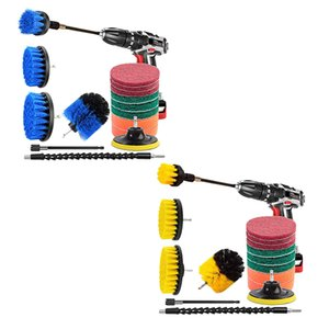 15 Pack Drill Brush Power Scrubber Cleaning Brush Extended Attachment Set All Purpose Drill Scrub Brushes Kit for Grout Floor Tu