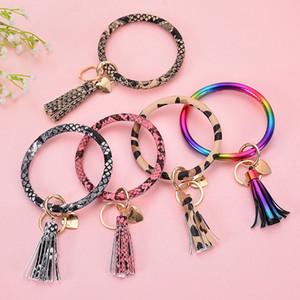 35styles PU porte-clé bracelet en cuir avec pendentif sac pompon coeur imprimé des articles de fête keyholder cercle Wristlet faveur FFA4145-1