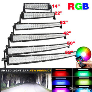5D RGB Led proiettore Bar Bluetooth App di controllo 16 milioni di colori Modifica curva Light Bar 4X4 camion del crogiolo di 120W 288W 300W Work Lamp