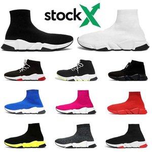 2020, con zapatos de diseño de calcetines para hombres, mujeres, zapatillas de deporte de moda de lujo de triple negro blanco de la pintada de la vendimia hombre entrenador de zapatos deportivos casuales