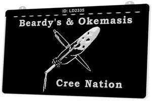 Entrar LD2335 Beardys Okemasis Cree Nation New 3D LED Gravura Customize on Demand múltipla Cor