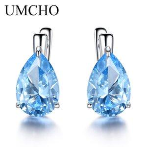 UMCHO Luxury Nano Gemstone голубой топаз серьги клип для женщин стерлингового серебра 925 клип на серьги Water Drop Fine Jewelry Gift CJ191201