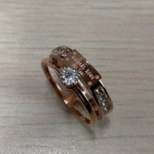 2020 Moda Popular Europeu EUA Jóias grife Aço inoxidável 14k subiu mulheres de ouro do casamento de noivado de diamante anéis anillos
