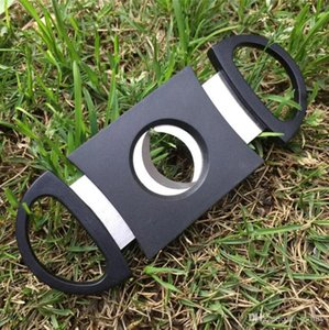 Pocket Plastic Stainless Steel Double Blades Guillotine Cigar Cutter Knife Scissors Tobacco Black New Fast Shipping