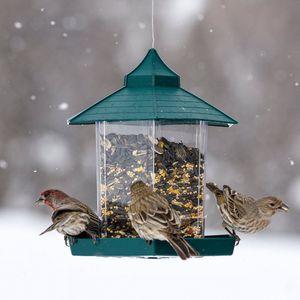Дикие кормушки для птиц пластиковый контейнер для пищевых продуктов на открытом воздухе висит водонепроницаемый ленивые люди кормление домашних животных контейнер для украшения сада XD21639